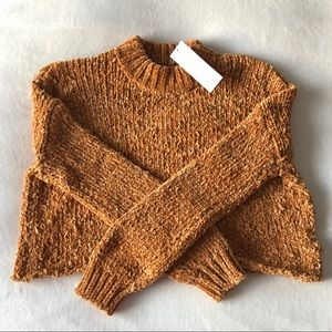 Marigold Chenille cropped mock neck sweater